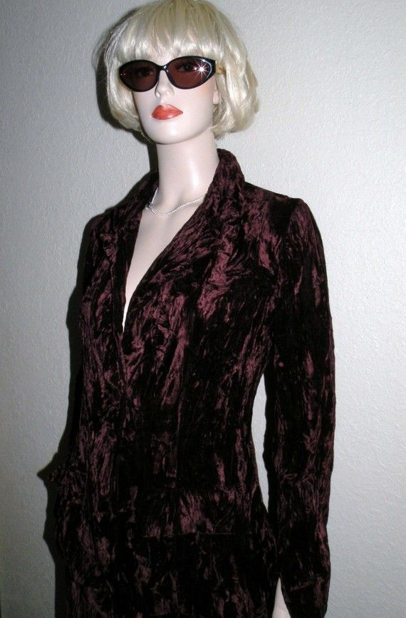 1960s Chocolate Crushed Velvet gored Skirt by FashionMuseVintage, $34.00