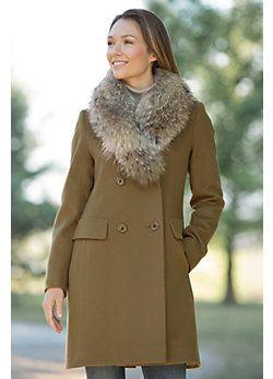 Jocelyn Loro Piana Wool Coat with Raccoon Fur Collar ~ modandretro.com