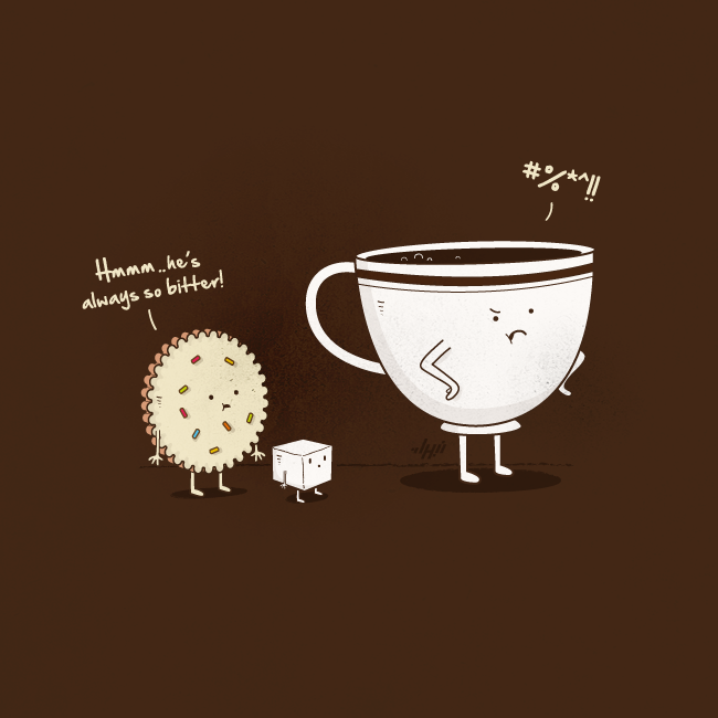 Coffee Humor | Hmmm. he's always so bitter | Funny Illustration by NaBHaN via Daily Inspiration