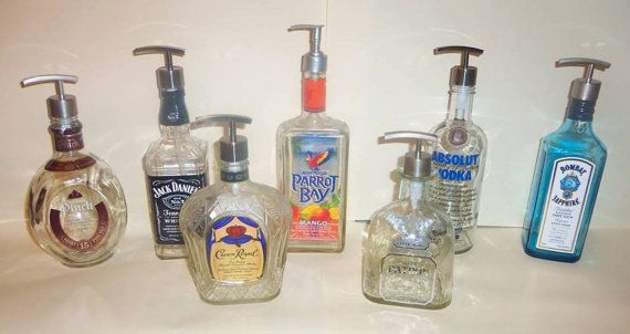 Upcycled Whiskey Tequila Beer Bottle Decorative Soap Pump Lotion Cool Decorative Lotion Bottles
