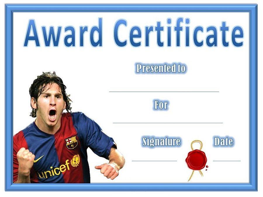 Soccer Award Certificates Blank Certificate Templates Pinterest