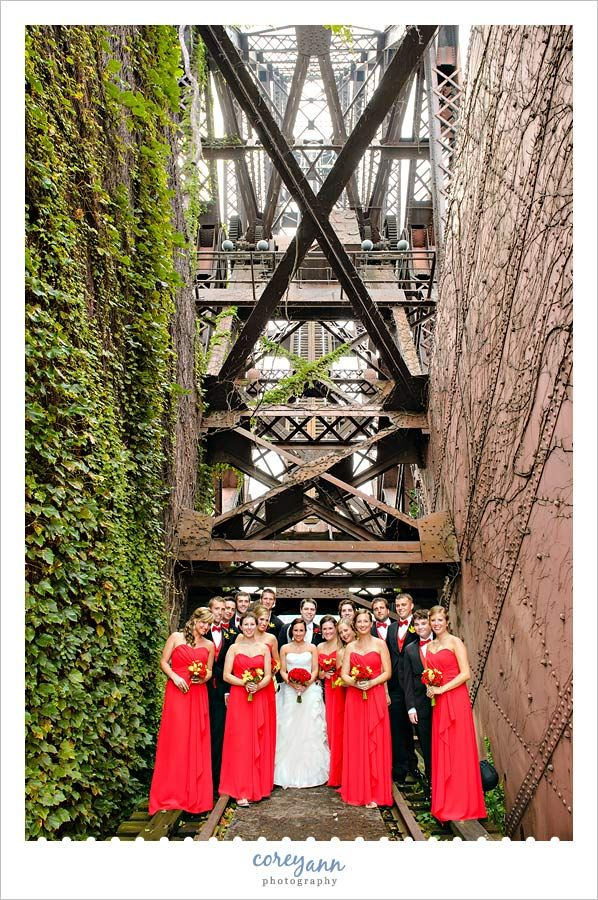 wedding picture locations akron ohio%0A Red and yellow bridal party portrait in July at Jacknife Bridge next to  Shooters      Main