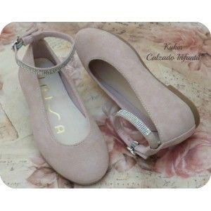 173a1c37755 calzado infantil - calzado juvenil - bailarinas niña - unisa - moda  infantil Preciosas bailarinas de ante en color rosa con pulsera con  detalles de ...