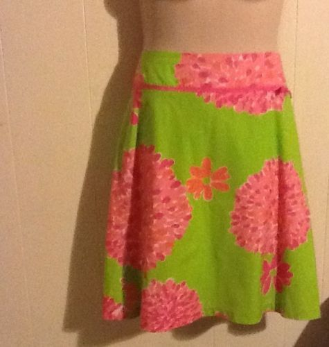 LILLY PULITZER WOMAN FLORAL PINK GREEN SKIRT FLARE. SIZE 12 spring colors