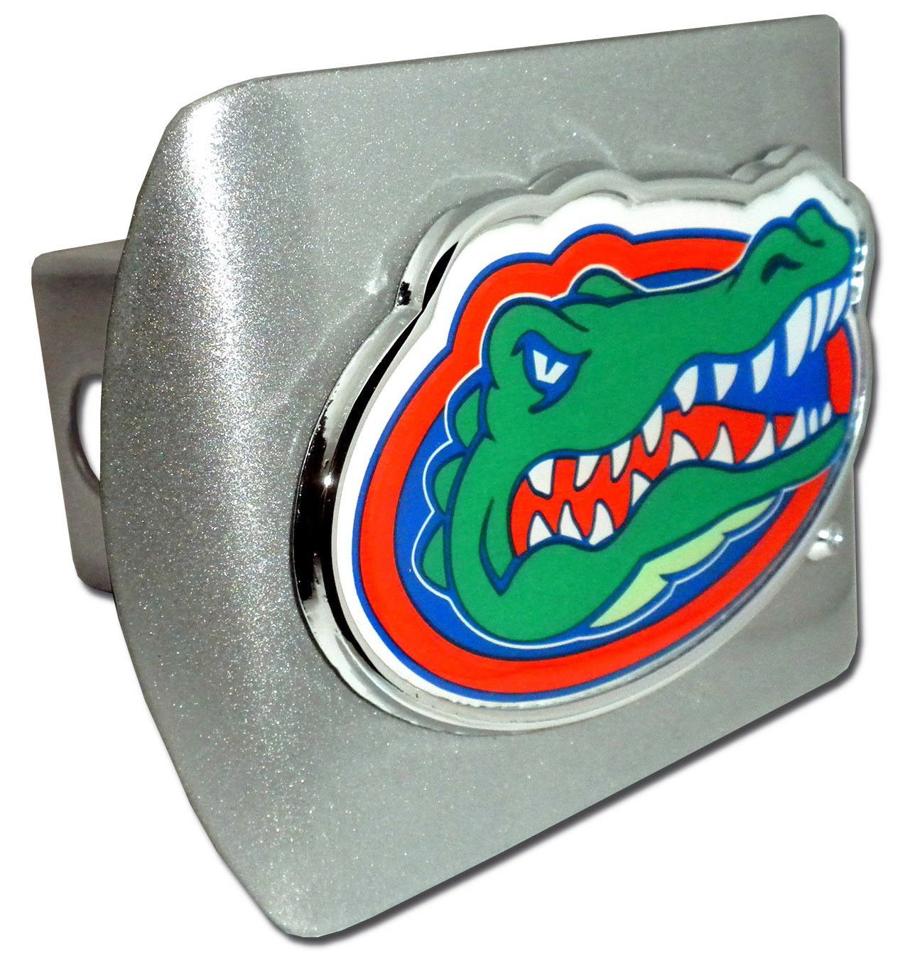 Elektroplate Florida Gators Brushed Metal Trailer Hitch Cover with Chrome Metal Gator Logo