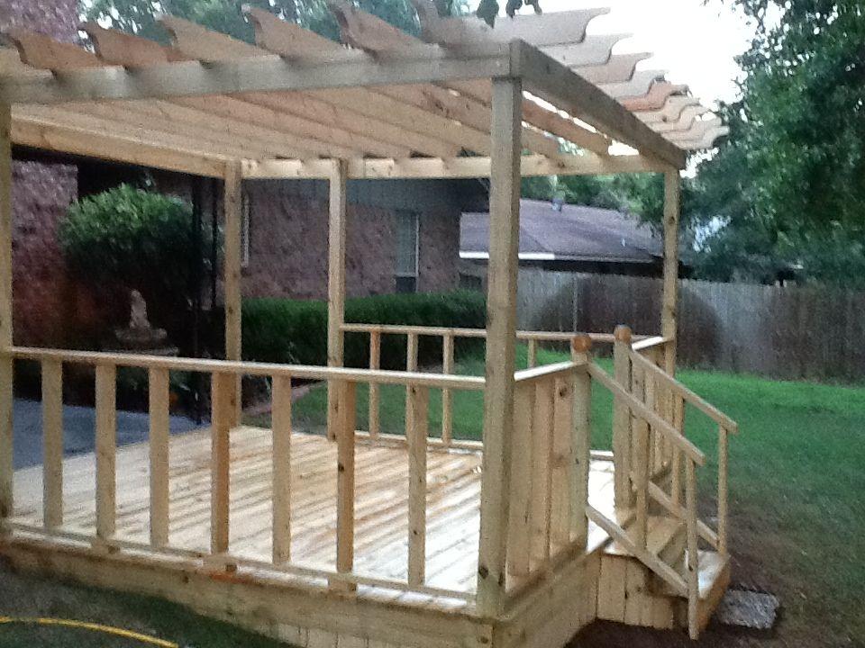 Pin By Annette Miller On Stuff We Built Deck Designs Backyard Building A Floating Deck Pergola