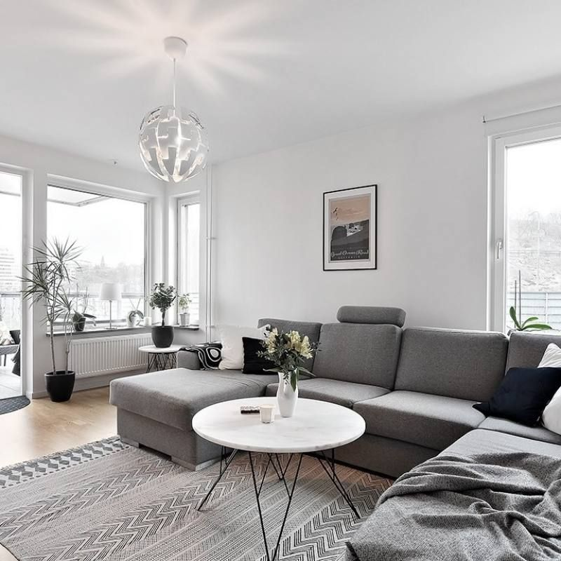 Room Redo Modern Minimalist Apartment Living Room With Grey Sectional Modern Apartment Living Room Stylish Living Room Living Room Scandinavian