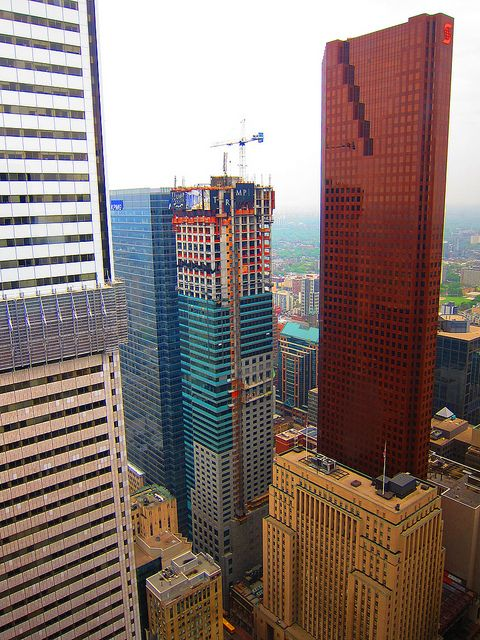 The Trump building seen from the 54th floor of the TD tower in downtown Toronto, Canada