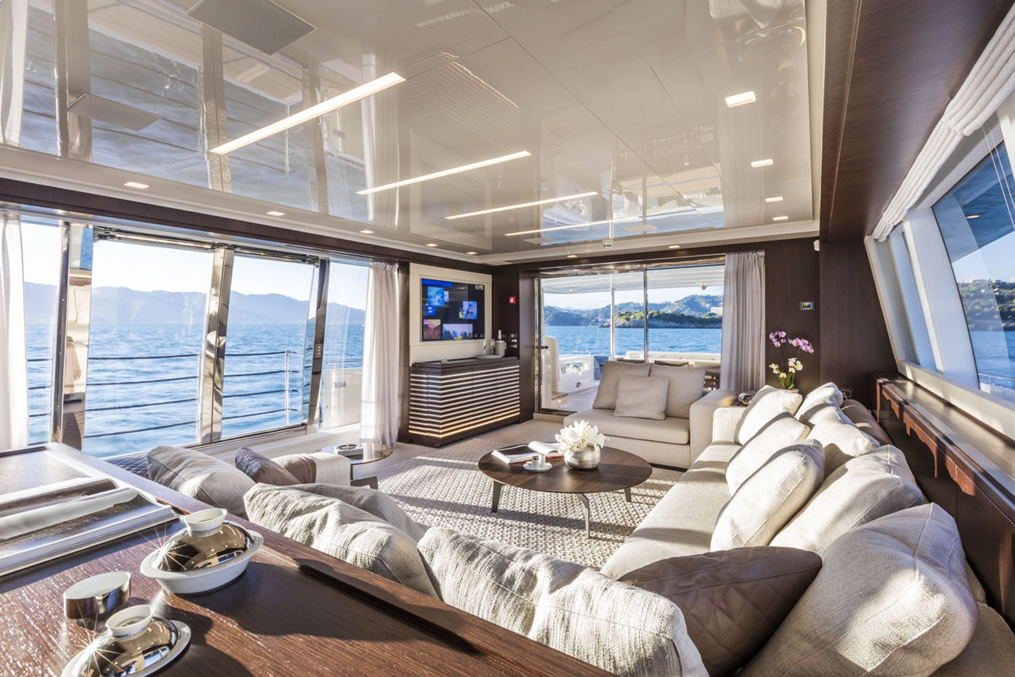 Living Room On A Yacht Yacht Interior Design Luxury Yacht