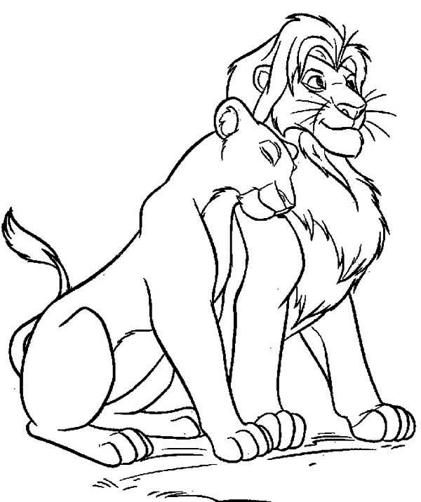 The Lion King Mufasa Love Nala Coloring Page Coloring Coloring