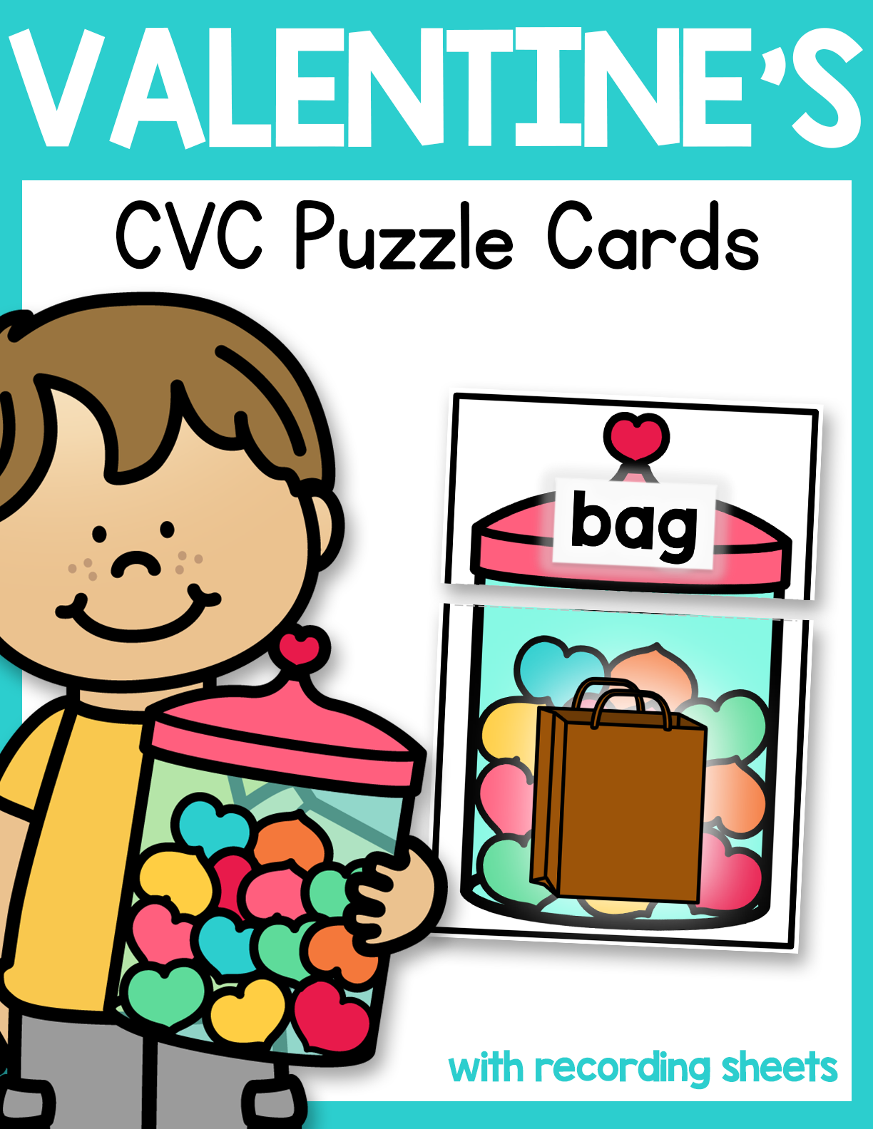 Valentine Jar Cvc Puzzle Cards