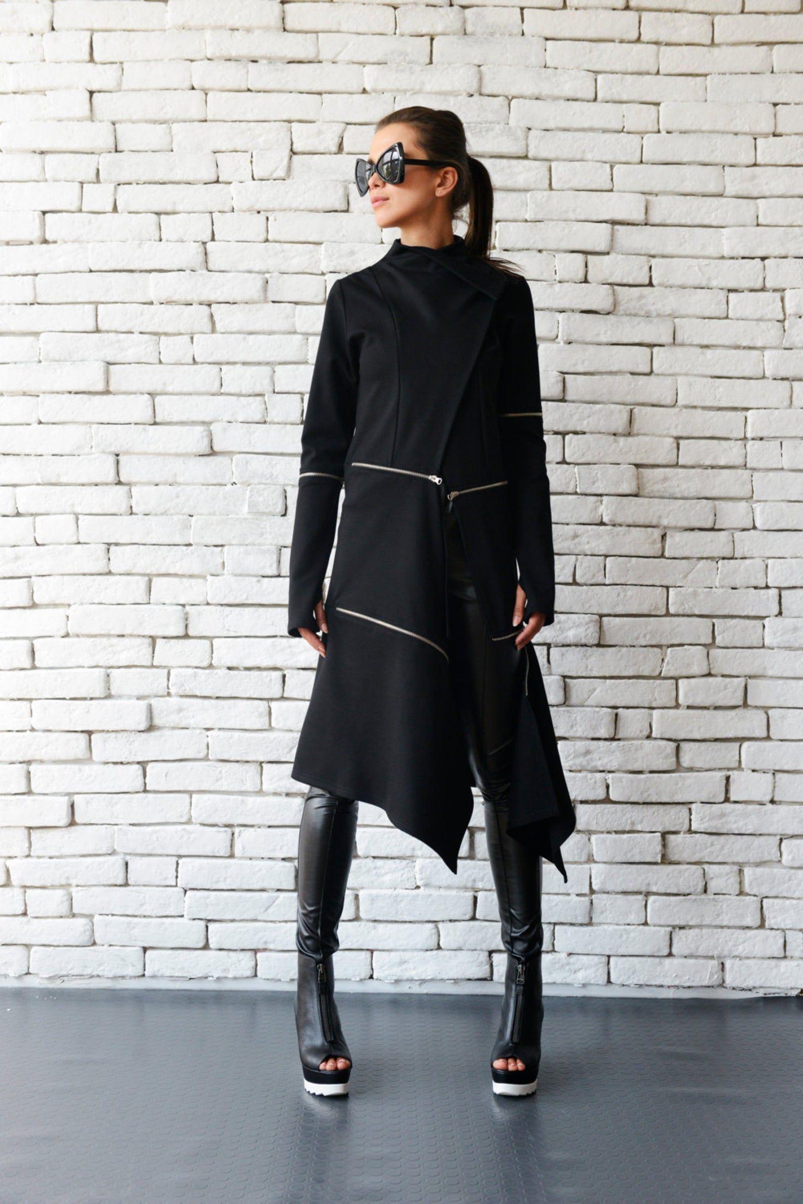 Black Tunic Black Cardigan Zipper Loose Blouse Womens Cardigan Plus Size Cardigan Plus Size Tunic Loose Tunic Oversize Tunic