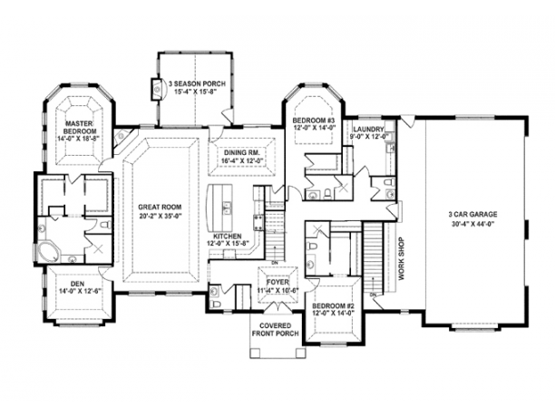 Oh my goodness i love this floorplan empty nest house for Open concept floor plans 1 story