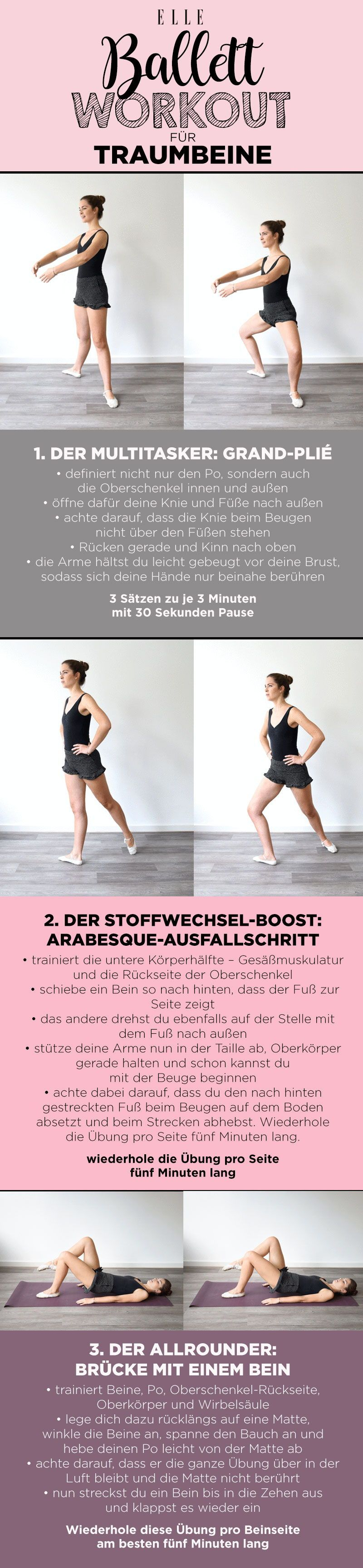 Ballett-Workout definierte Beine: 3 Profi-Übungen #balletfitness