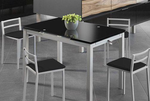Mesa Extensible de Cristal Glaseado o Cristal Negro para tu Cocina ...