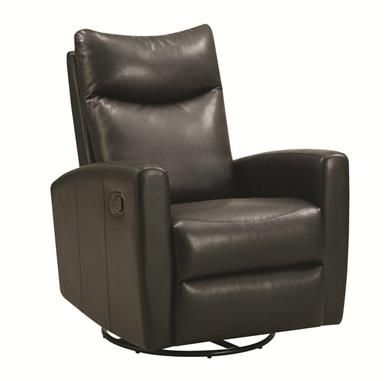 Black Bonded Leather Swivel Recliner W Soft Headrest With Images
