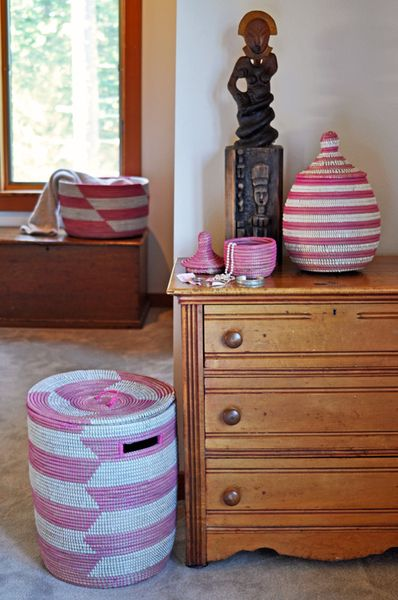Our #globalfinds Pink Stripe Senegalese Hamper Set adds such brilliant color to any space and would be a superb present for any homeowner looking to organize their space! #theperfectpresent