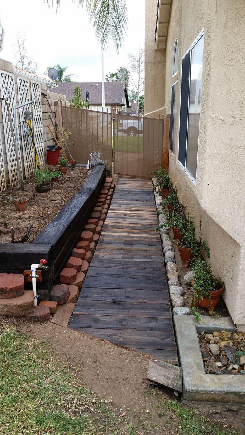 50+ Stunning Repurposing Recycled Pallet Ideas in 2020 ... on Side Yard Walkway Ideas id=81899