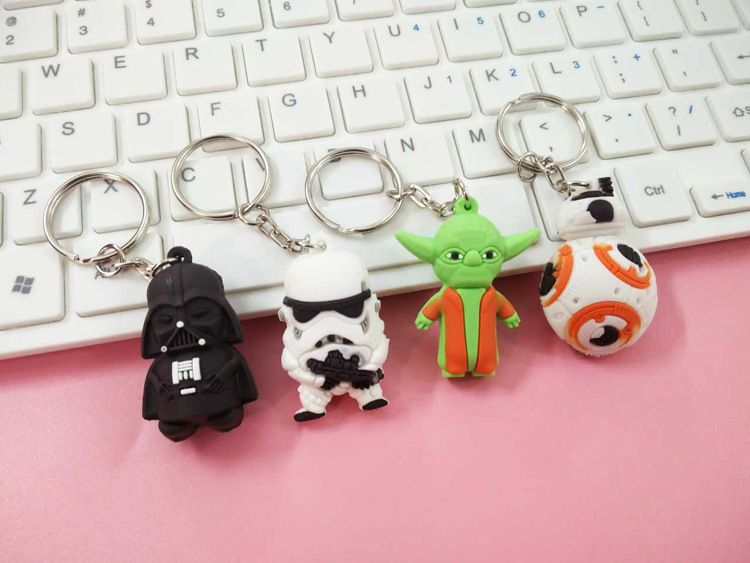 2017 Nieuwe Star Wars Figuren speelgoed Black Knight Darth vader Stormtrooper BB8 Yoda model Actiefiguren speelgoed sleutelhanger tas ornamenten