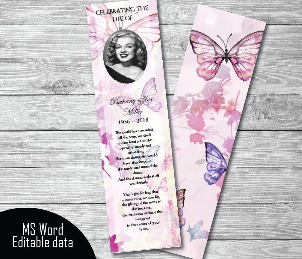 Pink Floral Butterflies Funeral Bookmark Template Memorial KeepsakePrintable TemplateMicrosoft Word By PrettyDigiDesigns On