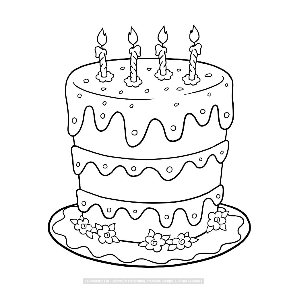 Leuk Voor Kids Mooi Versierde Taart Met Vier Kaarsjes Birthday Coloring Pages Coloring Pages Free Birthday Stuff
