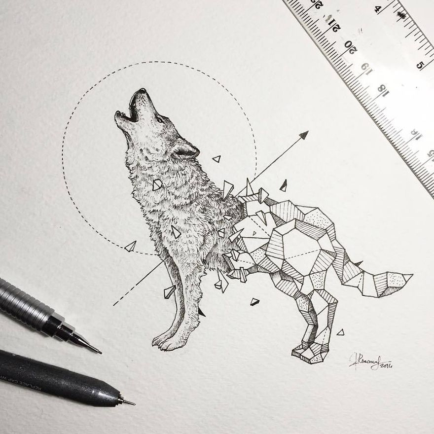 Intricate drawings of wild animals fused with geometric for Wild design