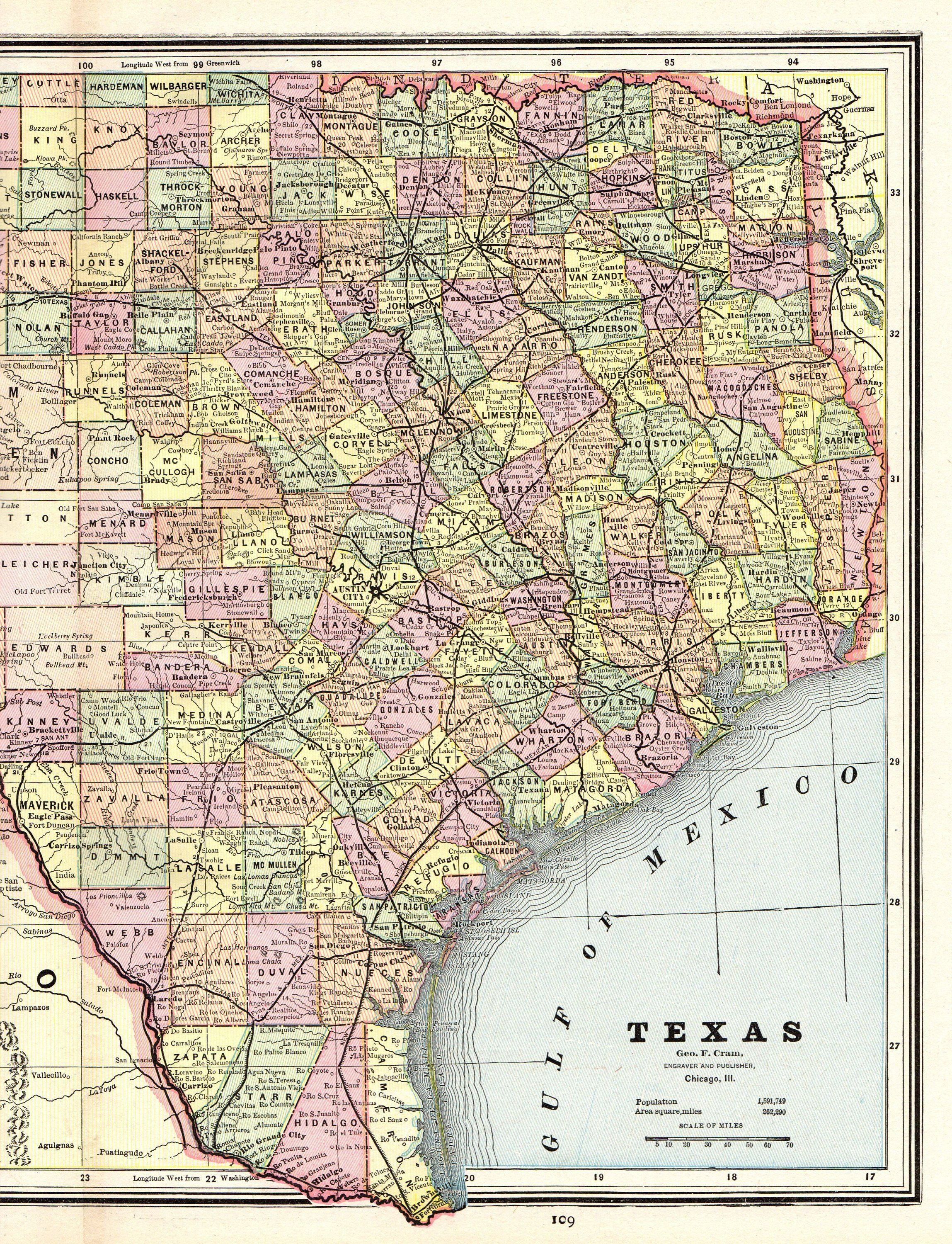 1888 Antique TEXAS Map Vintage State Map of Texas Gallery Wall Art ...
