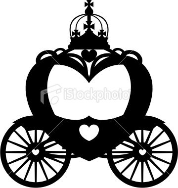 Vector Illustration Of A Heart Shaped Royal Carriage In Silhouette Disney Silhouettes Silhouette Illustration