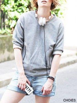 Gray High-low Drop Sleeve Sweatshirt | Choies