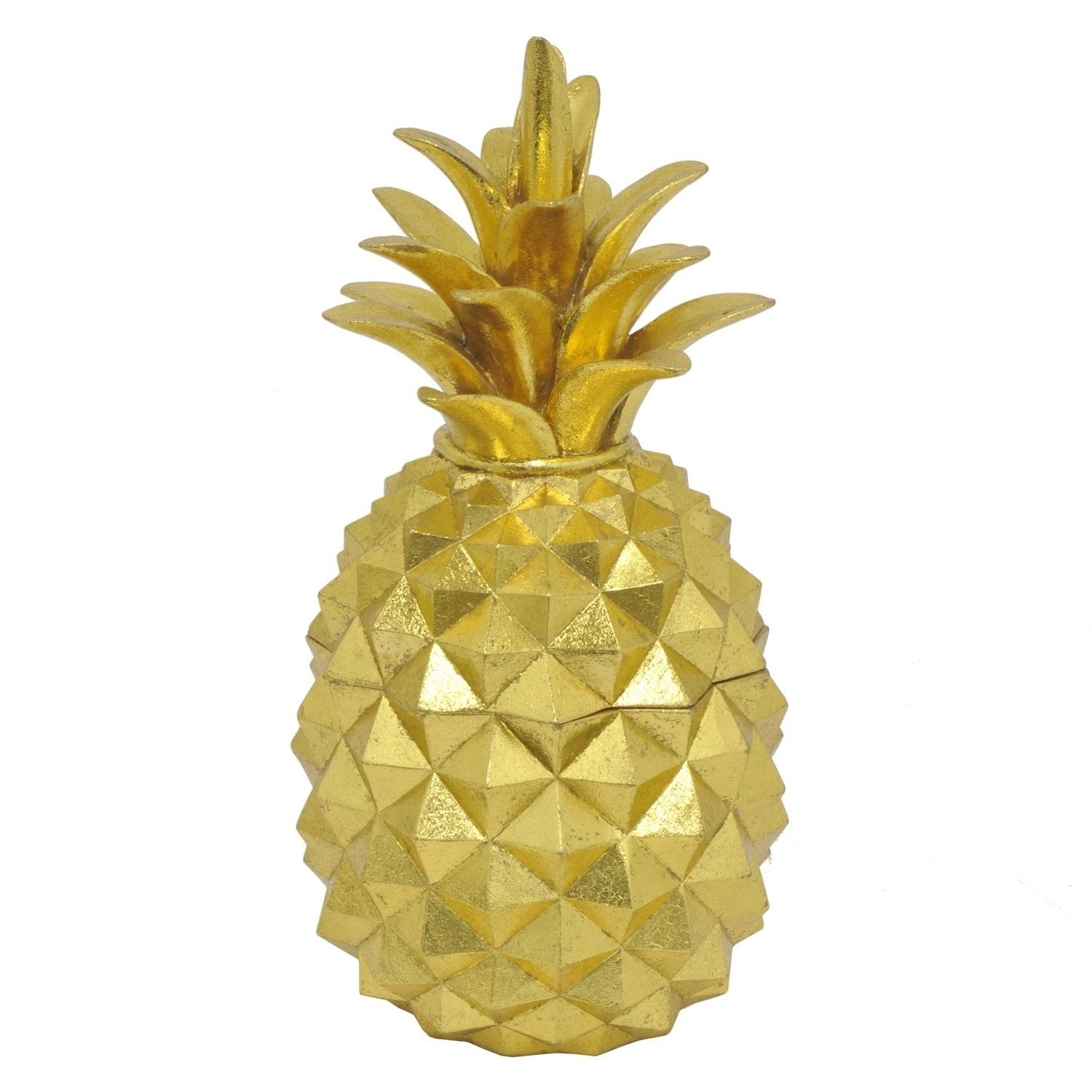 Three hands decorative gold resin pineapple covered jar resin