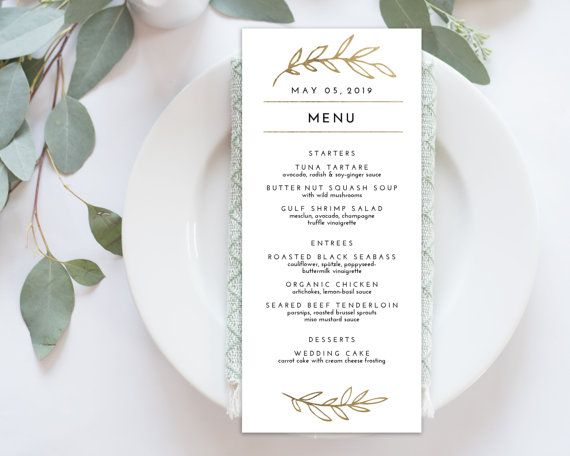 Wedding Menu Printable Printable Dinner Menu Editable Etsy Wedding Menu Template Diy Wedding Menu Wedding Menu Cards