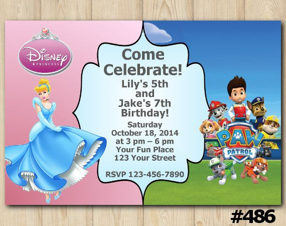 boy Princess and Toy Story girl or joint Personalised invitations