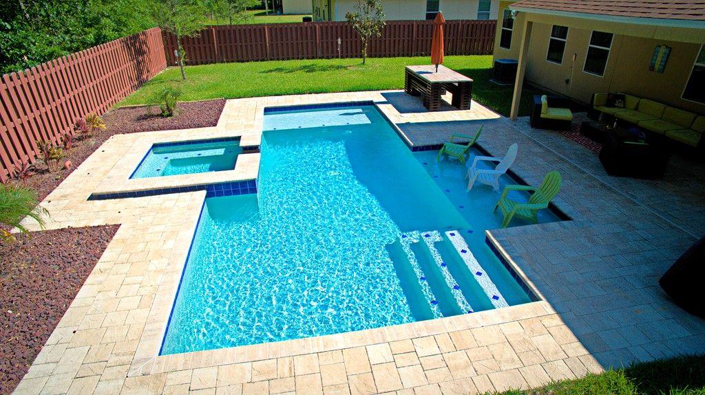 Modern Pools modern pool with two sun shelves - orange park, florida | pools