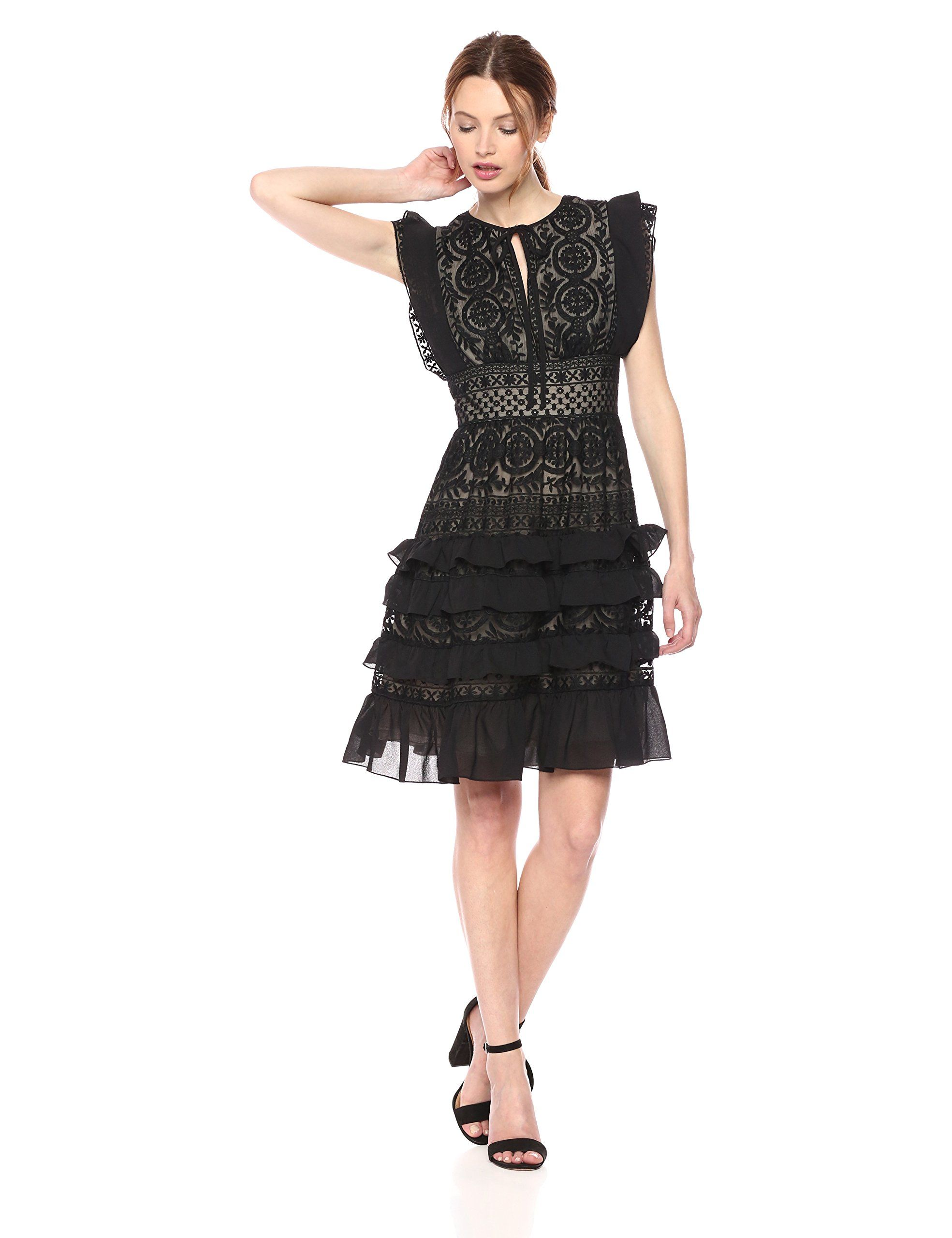 8263832e0d9 ML Monique Lhuillier Womens Embroidered Short Dress Black Nude 10   Read  more at the image link-affiliate link.  dresses