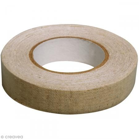Fabric tape thermofixable - aspect lin beige - 15 mm x 5 m - Photo n°2