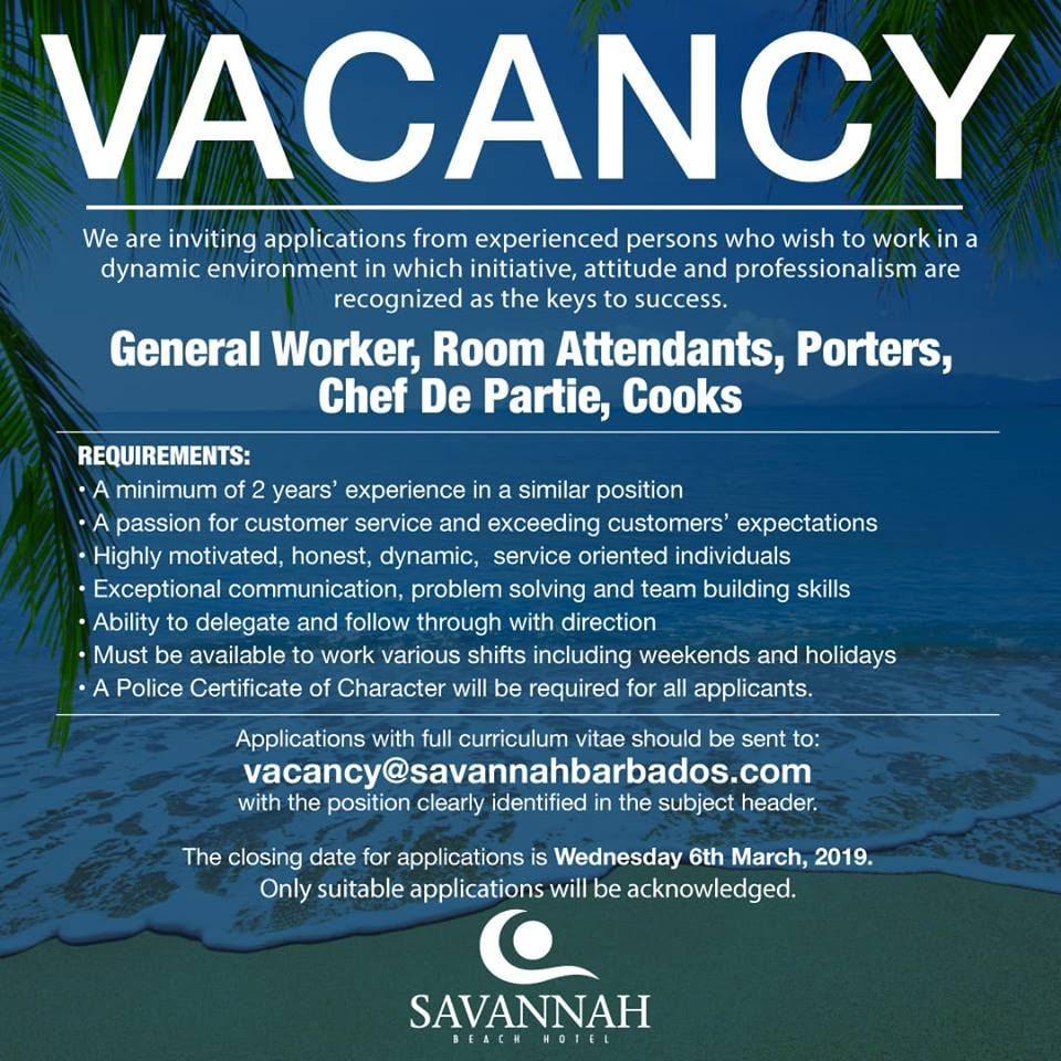 Savannah Beach Hotel Has 5 Job Vacancies Please Click Link For