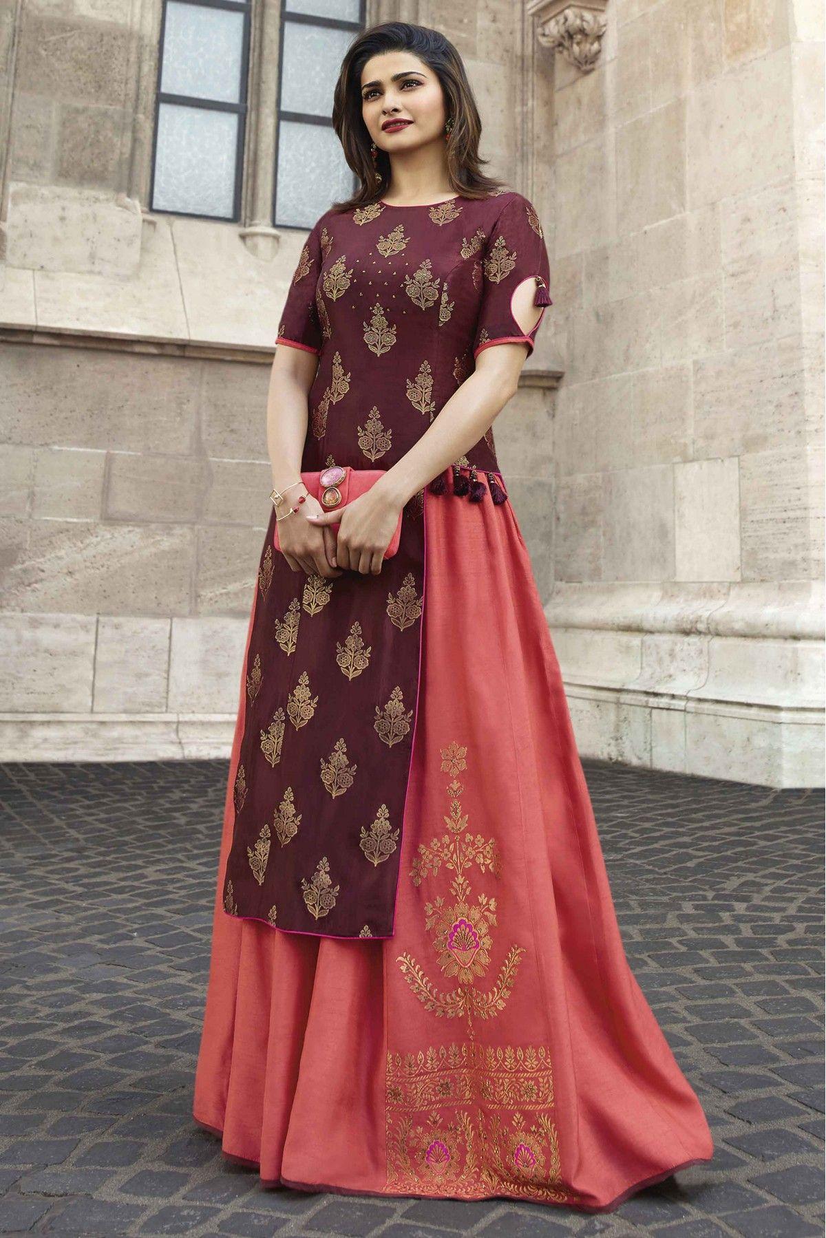Prachi Desai Banarasi Jacquard And Satin Stone Work Kurti In Wine And Peach Colour Party Wear Maxi Dresses Designer Dresses Fancy Kurti