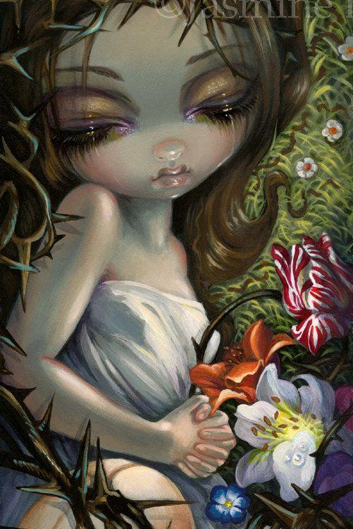 Sleeping in Thorns art print by Jasmine by strangeling on Etsy