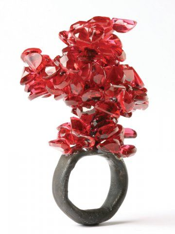 Ring | Karl Fritsch.  Oxidized silver with glass.