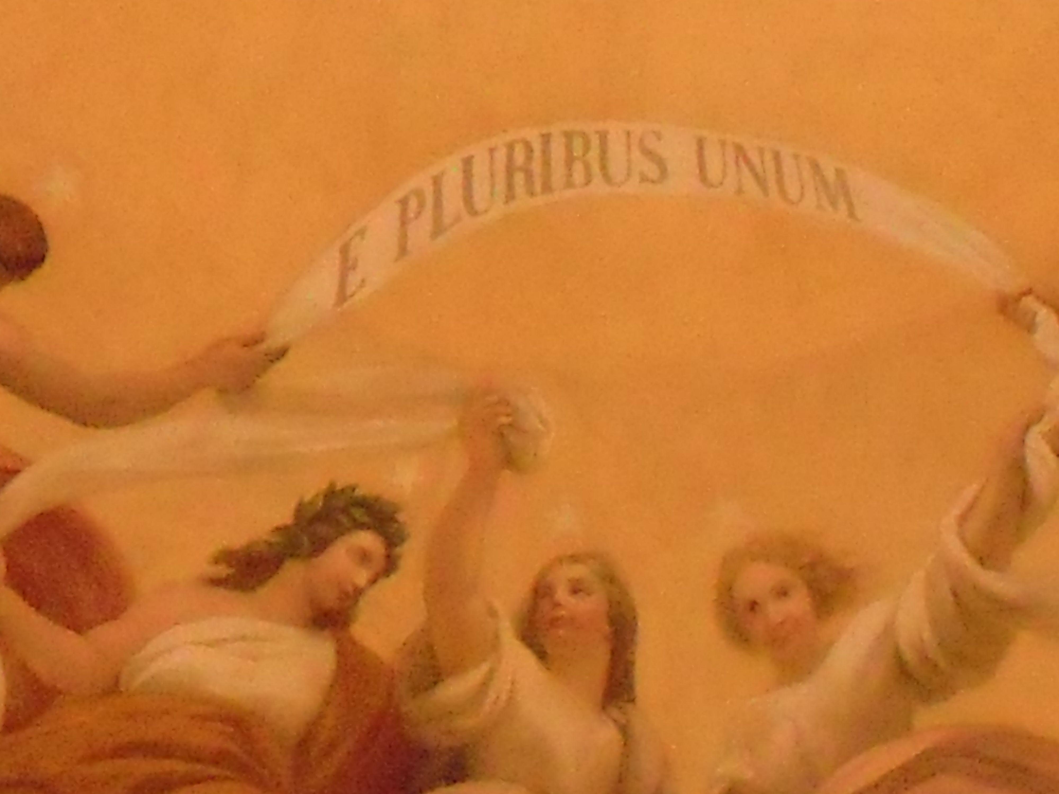 closeup of banner at center of Capitol rotunda e