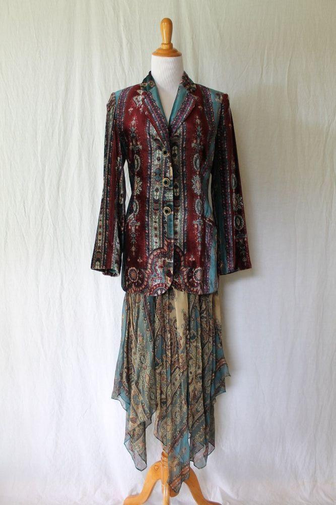 Vintage ALBERTA FERRETTI Ensemble Silk & Velvet Jacket Skirt Boho Gypsy Small 4 #AlbertaFerretti #AsymmetricalHemFlapperSkirtEnsemble2pieceTeaDress #Cocktail