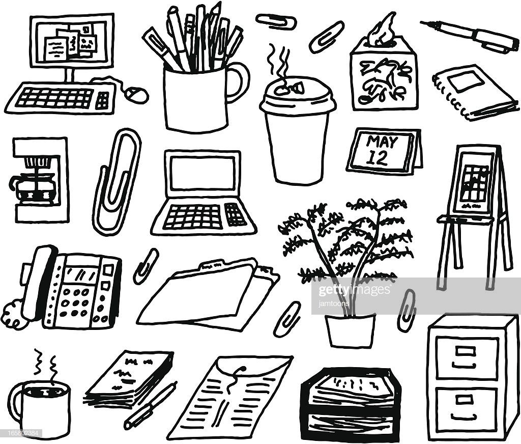A Doodle Page Of Office Supplies Doodle Pages Office Supplies Illustration Doodles