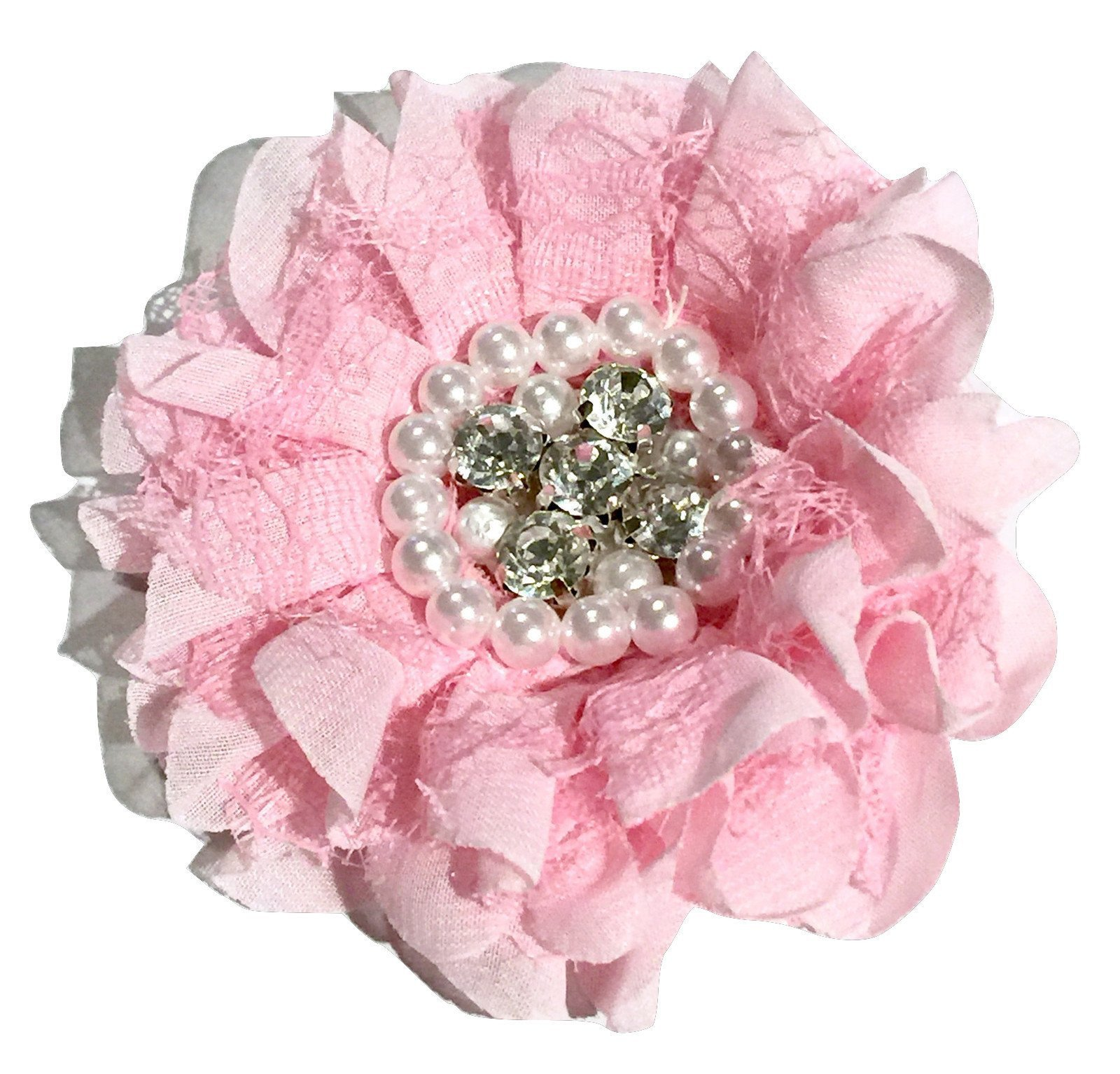 "Naavy blue 3.5/"" lace chiffon ruffle flower w// rhinestone /& pearl center"