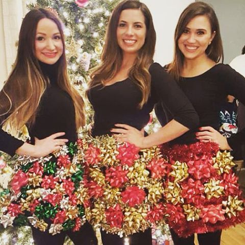 DIY: Christmas Bow Skirt for Ugly Christmas Sweater Party! ⛄ @zpoehlman @ - Pin By Linsey Fulton On CHRISTmas :) Christmas, Christmas Sweaters