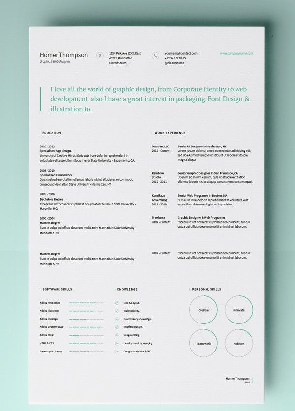 Simple Resume Template Vol  Mac Resume Template  Great For More