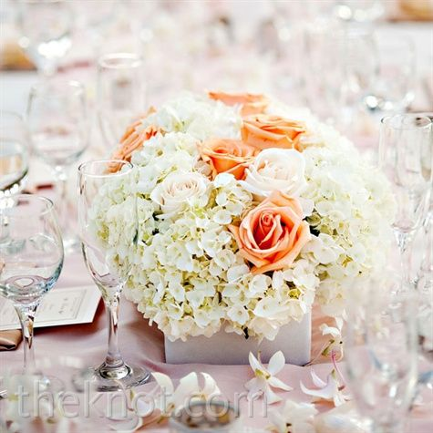 Hydrangea and Rose Centerpiece- instead of Rose, something more ivory..