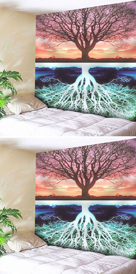 Tree Pattern Tapestry Microfiber Wall Hanging Fall Canvas Painting Tapestry Hanging Wall Art