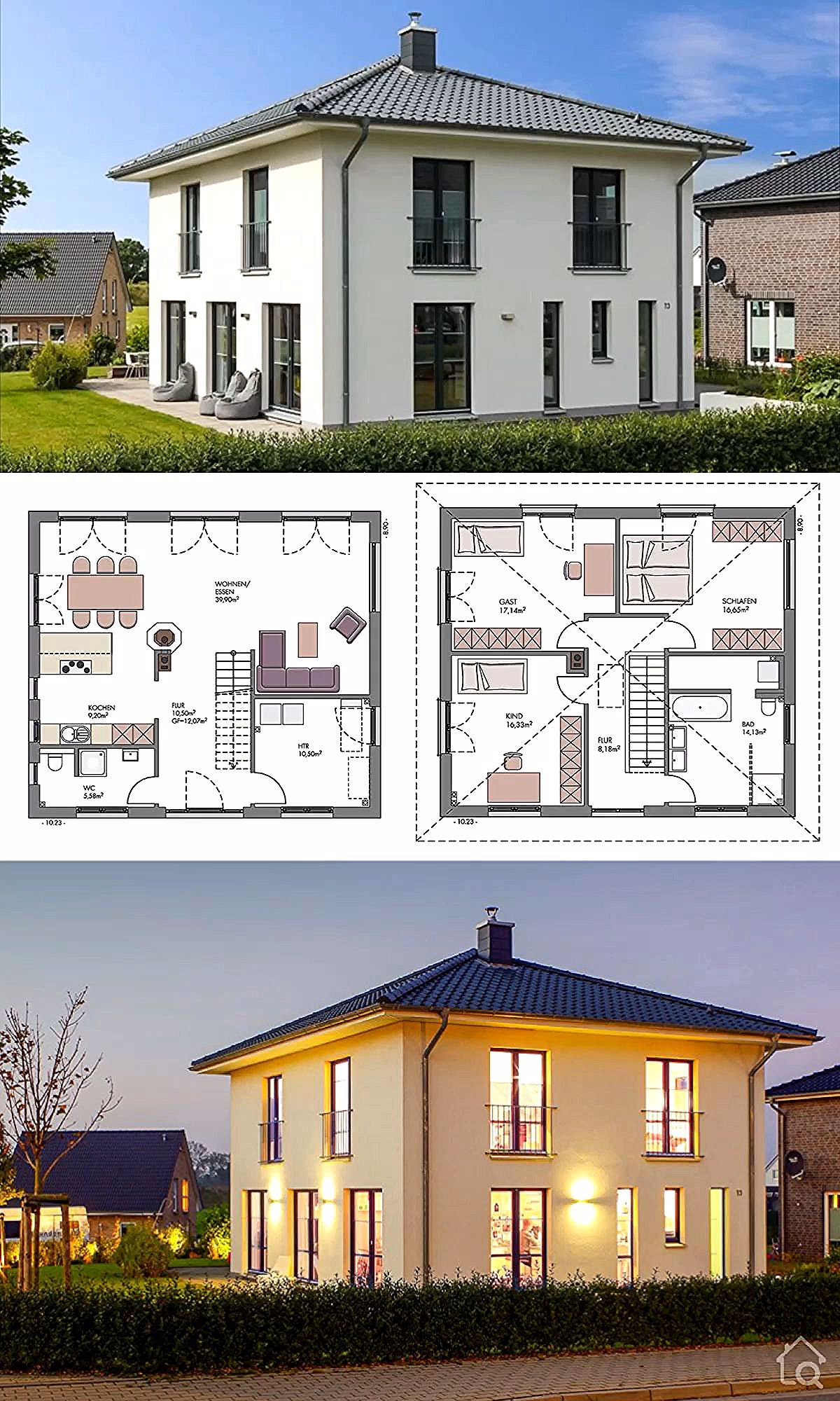 Modern European Style Architecture House Plan Villa 140 - Dream Home Ideas with Double Storey House Plans Blueprint - Open Floor Interior Design Home with Kitchen and Living Room Bathroom Bedroom Garage and Garden Exterior - Rendering Photography and Layout Inspiration - HausbauDirekt.de #home #house #houseplan #houseplans #villa #luxury  #homesweethome #dreamhome #newhome #newhouse #homedesign #houseideas #housegoals #architecture #architect #arquitectura #hausbaudirekt