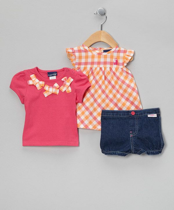 Take a look at this Rugged Bear Pink & Orange Plaid Top Set - Infant on zulily today!