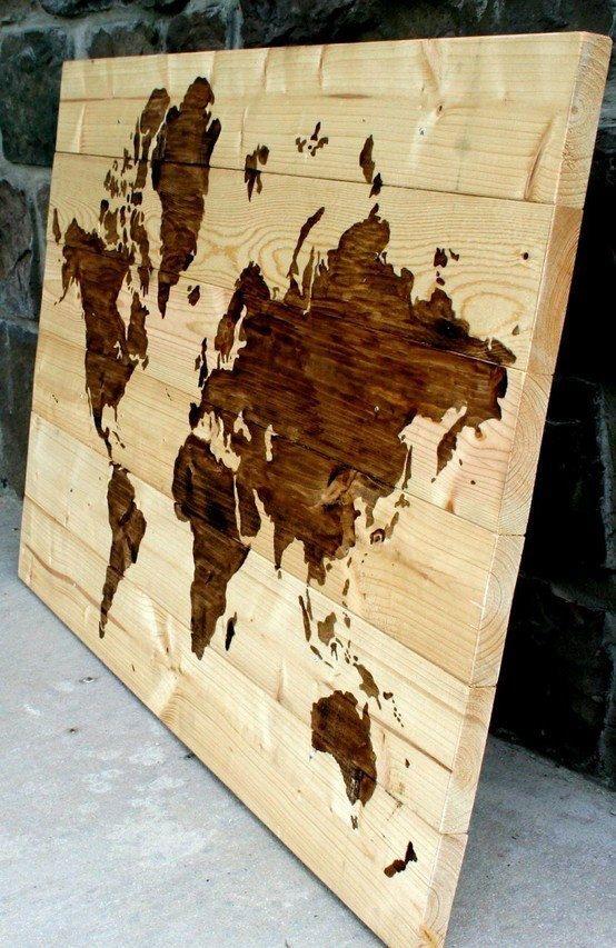 Wooden World Map Wall Art 60 x 40cm Handmade by LoveWoodLoveArt ...